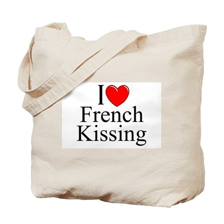 """I Love (Heart) French Kissing"" Tote Bag"