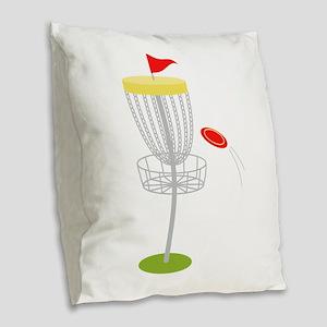 Frisbee Disc Golf Burlap Throw Pillow