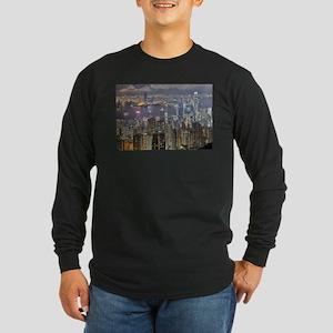 Hong Kong Skyline at night fro Long Sleeve T-Shirt