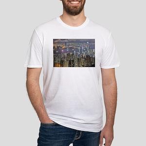 Hong Kong Skyline at night from Victoria P T-Shirt