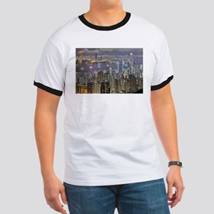 Hong Kong Skyline at night from Victoria P T-Shirt