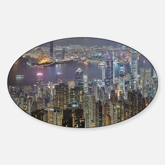 Hong Kong Skyline at night from Victoria P Decal