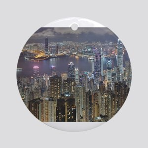 Hong Kong Skyline at night from Vic Round Ornament