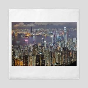 Hong Kong Skyline at night from Victor Queen Duvet