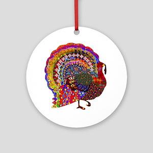 Dazzling Artistic Thanksgiving Turk Round Ornament