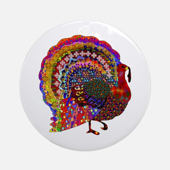 Dazzling Artistic Thanksgiving Turk Round Ornament