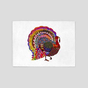 Dazzling Artistic Thanksgiving Turk 5'x7'Area Rug