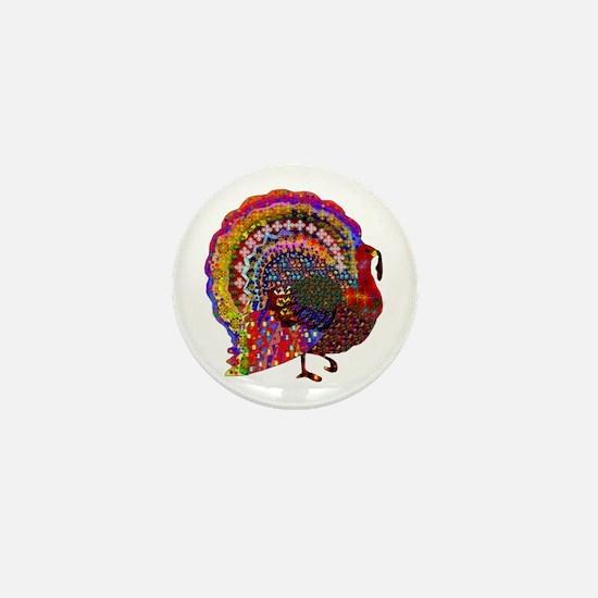 Dazzling Artistic Thanksgiving Turkey Mini Button