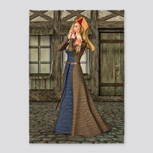 Medieval Lady 5'x7'Area Rug
