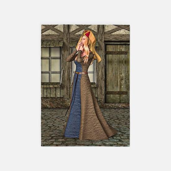 Medieval Lady 5'x7'Area Rug