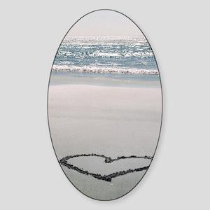 I ? the Beach Sticker (Oval)