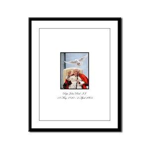 Pope John Paul II with Dove Framed Panel Print