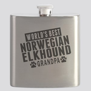 Worlds Best Norwegian Elkhound Grandpa Flask