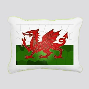 Welsh Flag In Mosaic, Rectangular Canvas Pillow