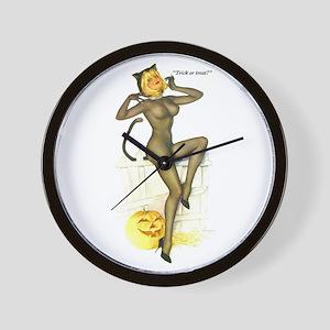 Halloween Vargas Sexy Cat Pin-Up Wall Clock