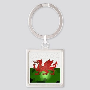 Welsh Flag In Mosaic Design, Square Keychains