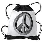 Silver Peace Sign Drawstring Bag