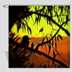 Sunset Kookaburra Silhouette Shower Curtain