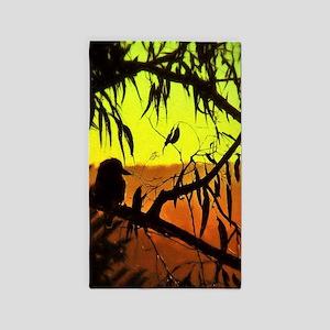 Sunset Kookaburra Silhouette Area Rug