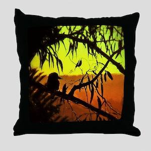 Sunset Kookaburra Silhouette Throw Pillow