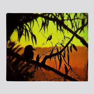 Sunset Kookaburra Silhouette Throw Blanket