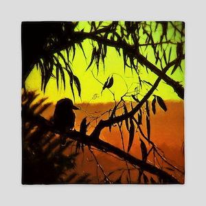 Sunset Kookaburra Silhouette Queen Duvet
