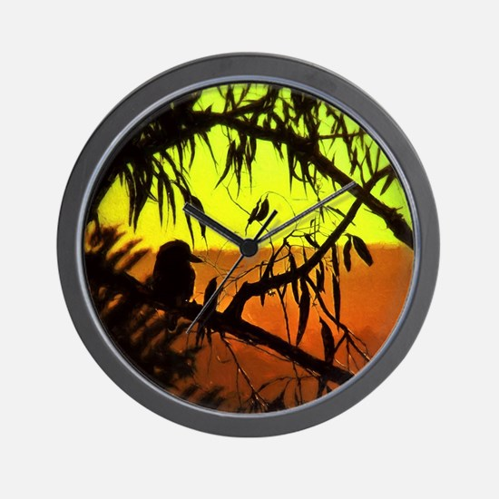 Sunset Kookaburra Silhouette Wall Clock
