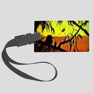 Sunset Kookaburra Silhouette Large Luggage Tag