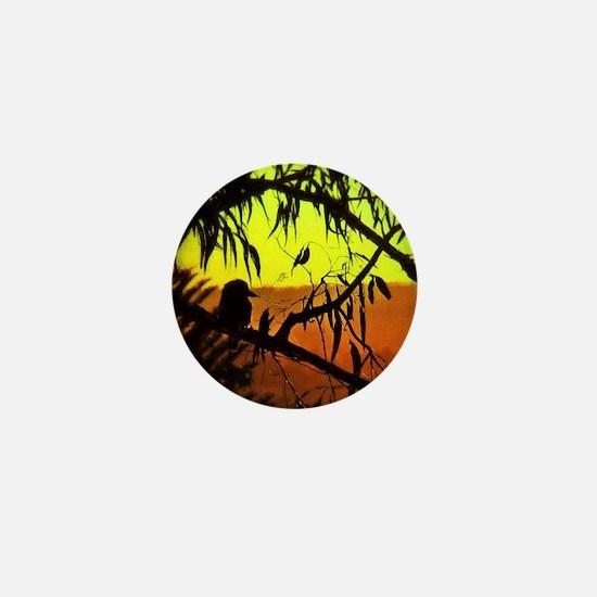 Sunset Kookaburra Silhouette Mini Button