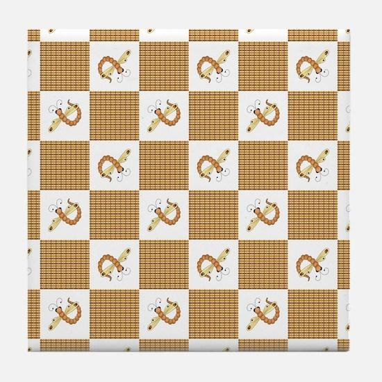 DRAGONFLY PLAID Tile Coaster