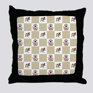 BIRDHOUSE PLAID Throw Pillow