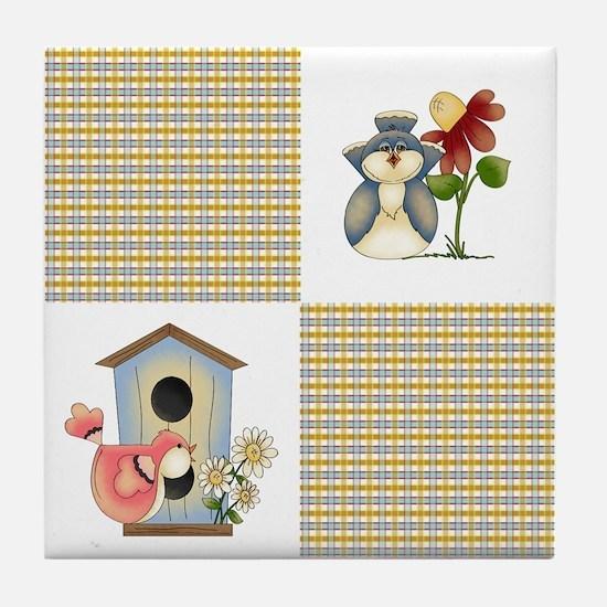 BIRDHOUSE PLAID Tile Coaster