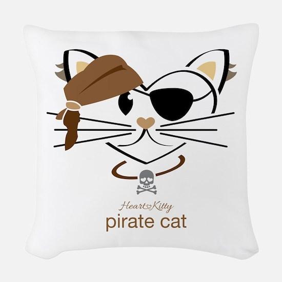 Pirate Cat Woven Throw Pillow