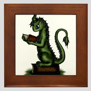 Bookworm Dragon Framed Tile