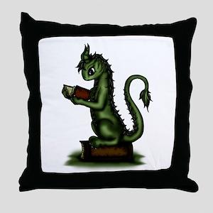Bookworm Dragon Throw Pillow