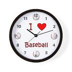 I Love Baseball Wall Clock
