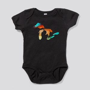 Michigan - Great Lakes Fractal Colors Baby Bodysui