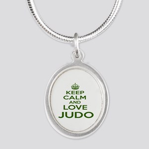 Keep calm and love Judo Silver Oval Necklace