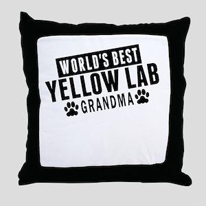Worlds Best Yellow Lab Grandma Throw Pillow