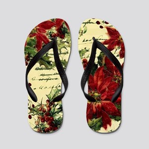 Vintage poinsettia and holly Flip Flops