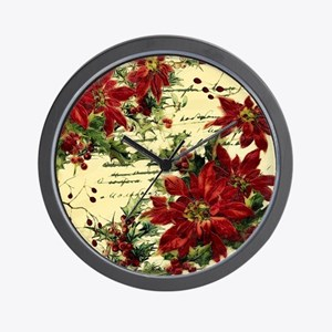 Vintage poinsettia and holly Wall Clock