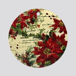Vintage poinsettia and holly Round Ornament