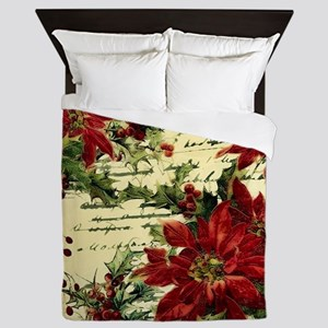 Vintage poinsettia and holly Queen Duvet
