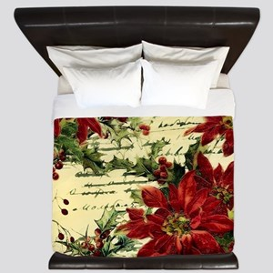 Vintage poinsettia and holly King Duvet