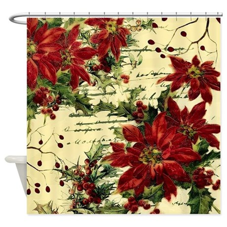 Vintage Poinsettia And Holly Shower Curtain By Admin CP59133934