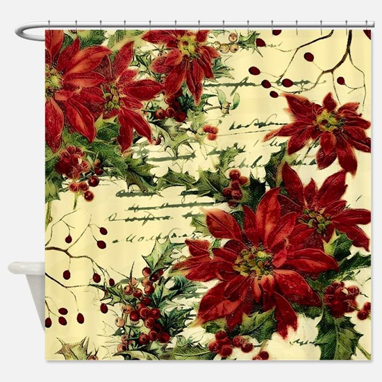 Vintage poinsettia and holly Shower Curtain
