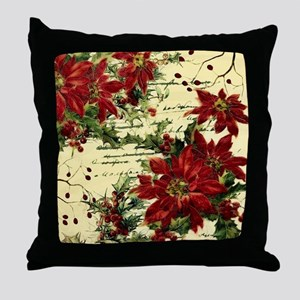 Vintage poinsettia and holly Throw Pillow