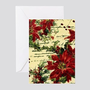 Vintage poinsettia and holly Greeting Cards