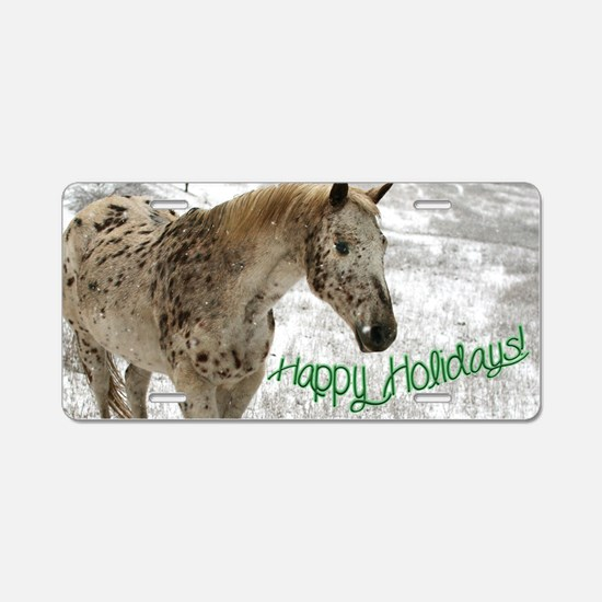 Appaloosa in the Snow Aluminum License Plate