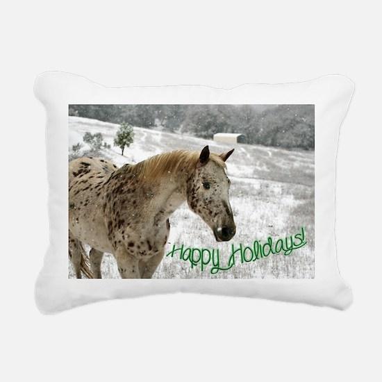 Appaloosa in the Snow Rectangular Canvas Pillow
